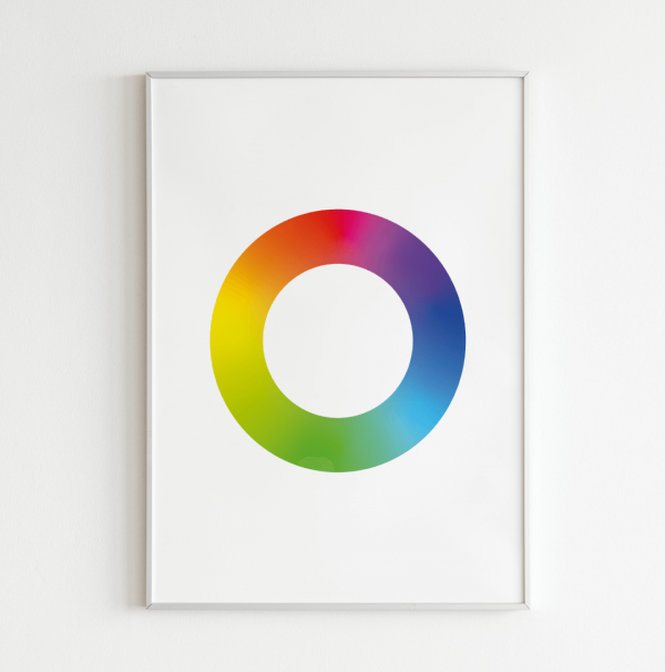 Gradient Color Wheel Poster in a white background hanging from a white wall