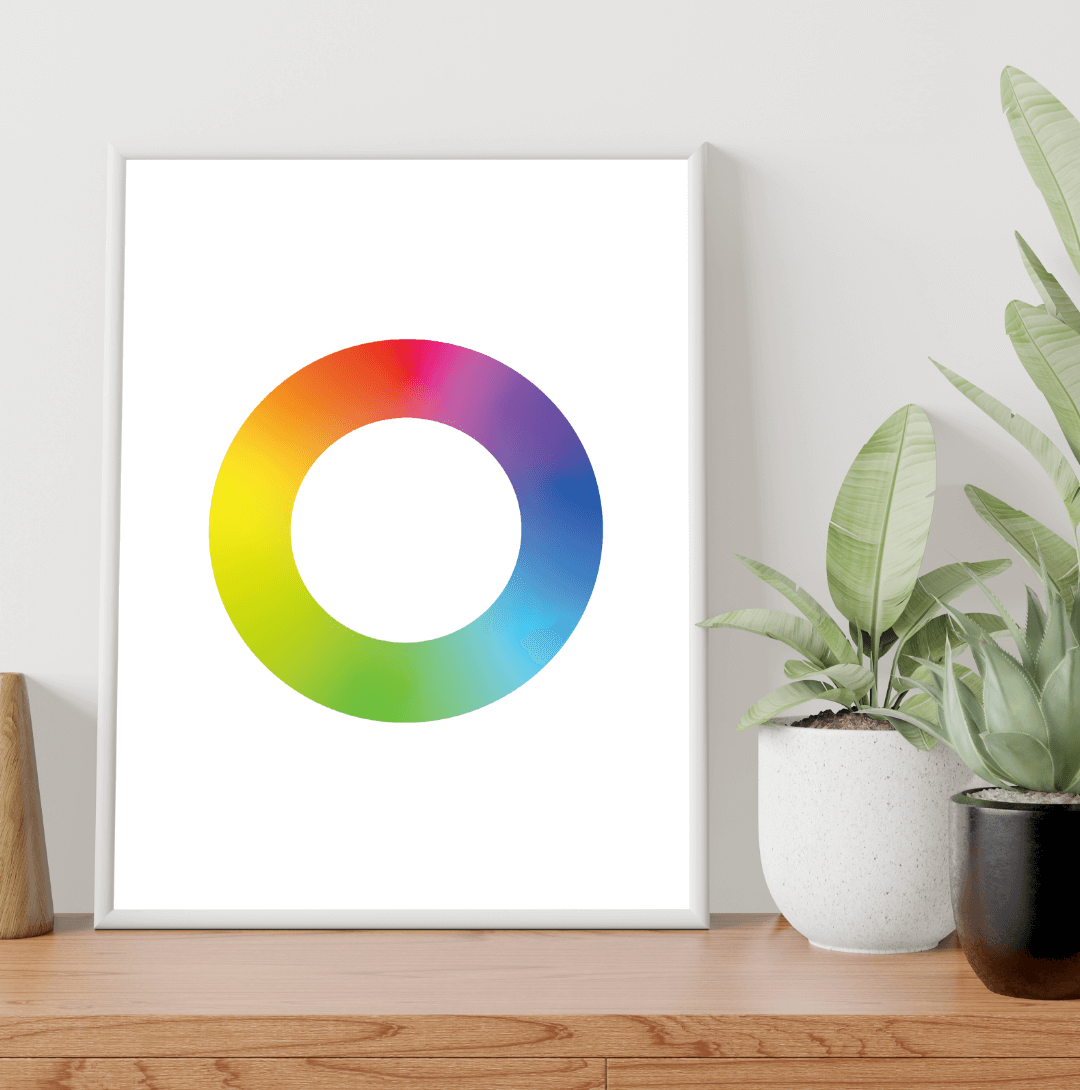 Gradient Color Wheel Poster in a white background
