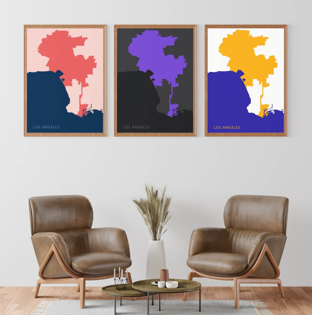 three different color combination Los Angeles Minimalist Map Poster in same sizes hanging on the wall in a living room with two brown sofas, poster inspiration for your interior design