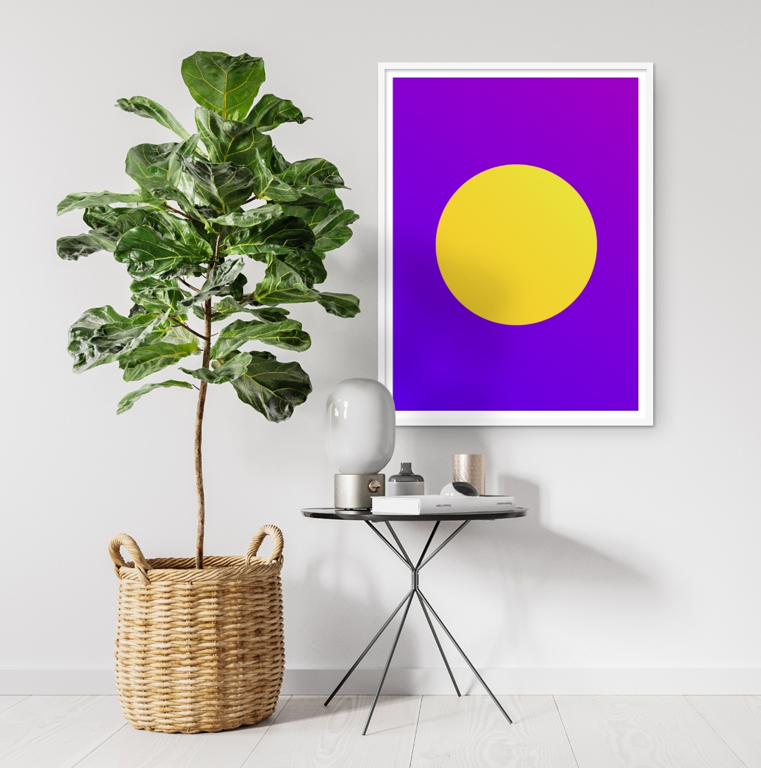 Gorse gradient circle on a Electric Indigo and Dark Violet gradient background on white wall near a little table and little tree, poster inspiration for your interior design